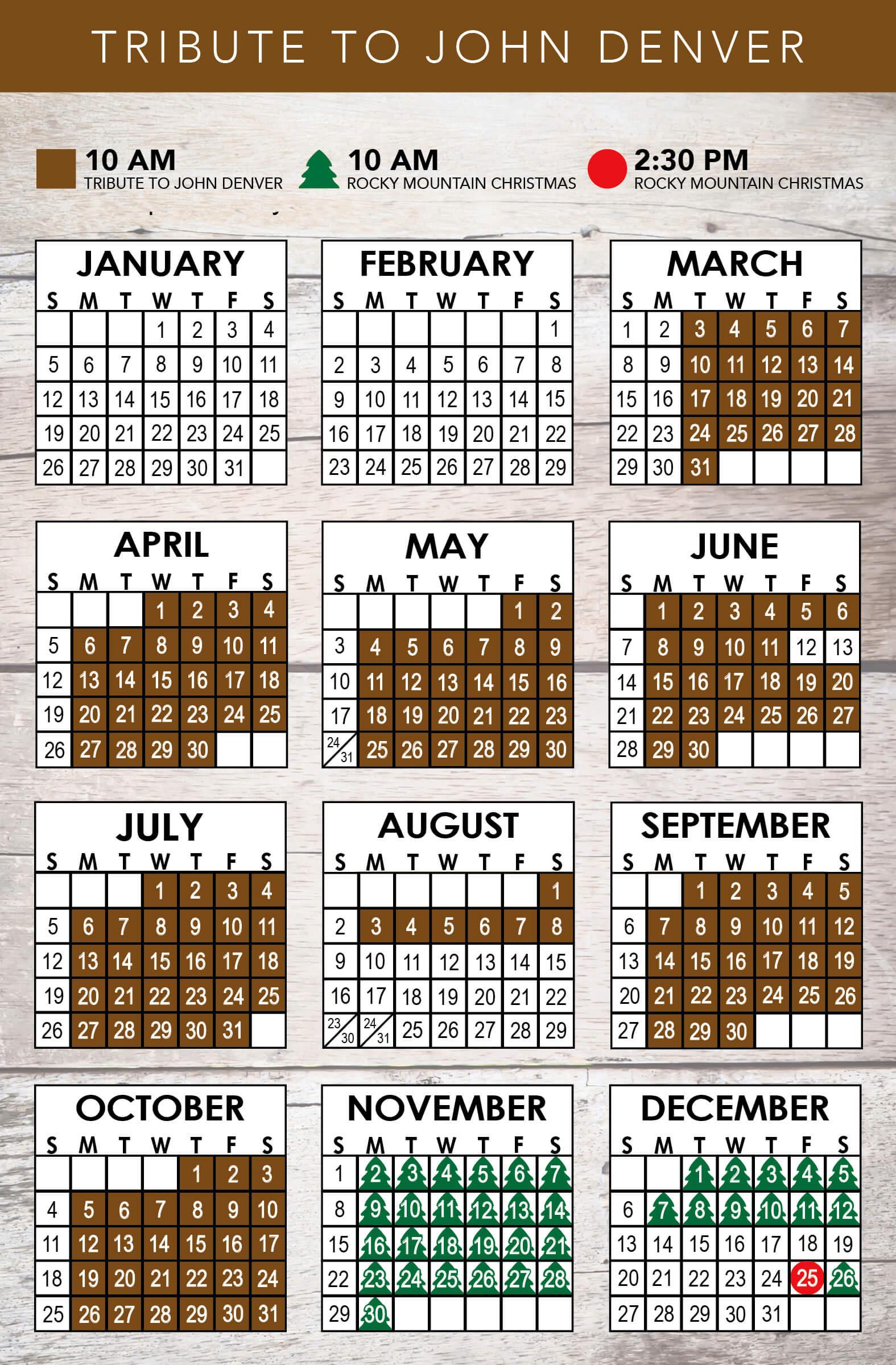 A Tribute to John Denver 2020 Schedule