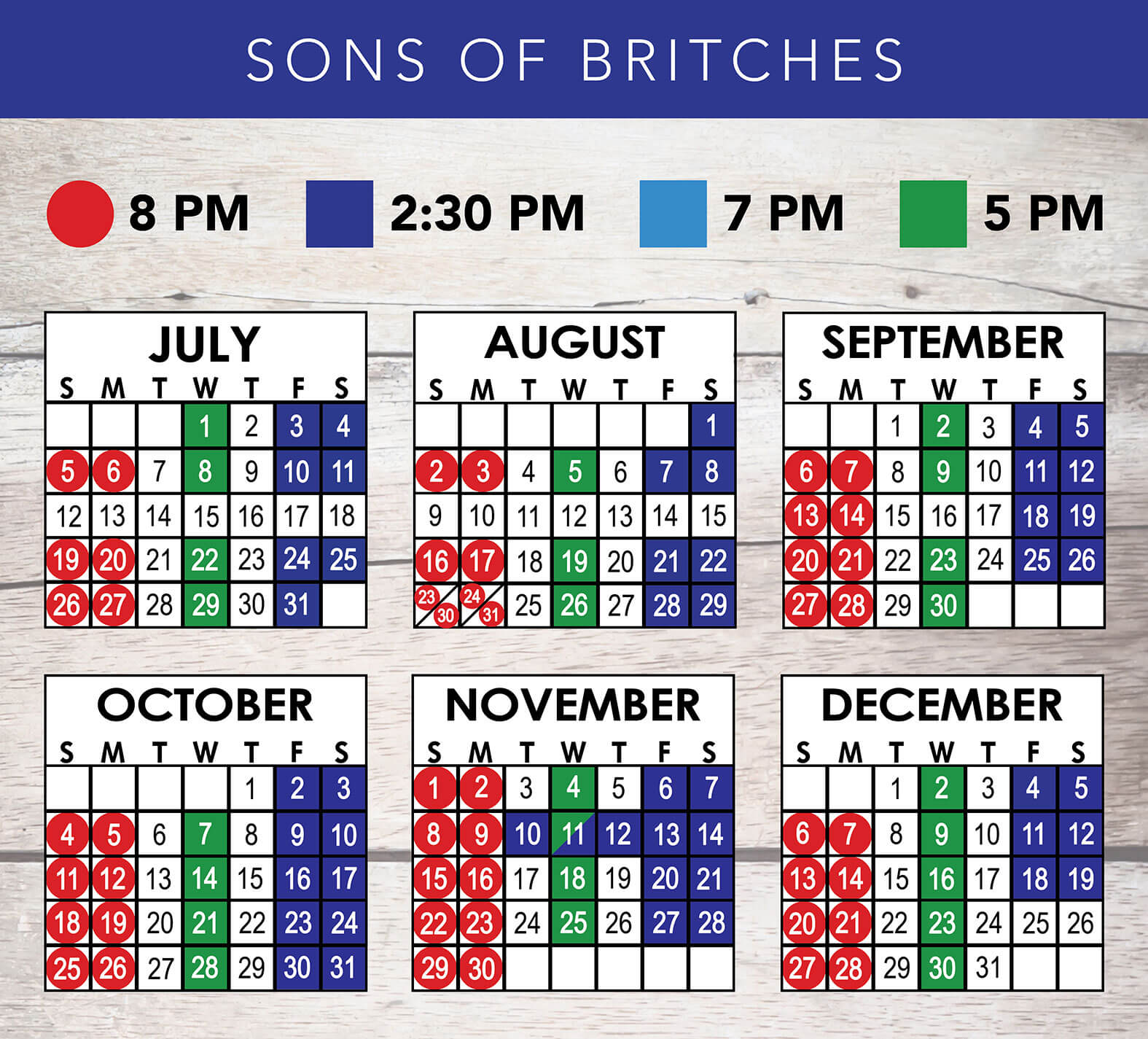 Sons of Britches 2020 Schedule