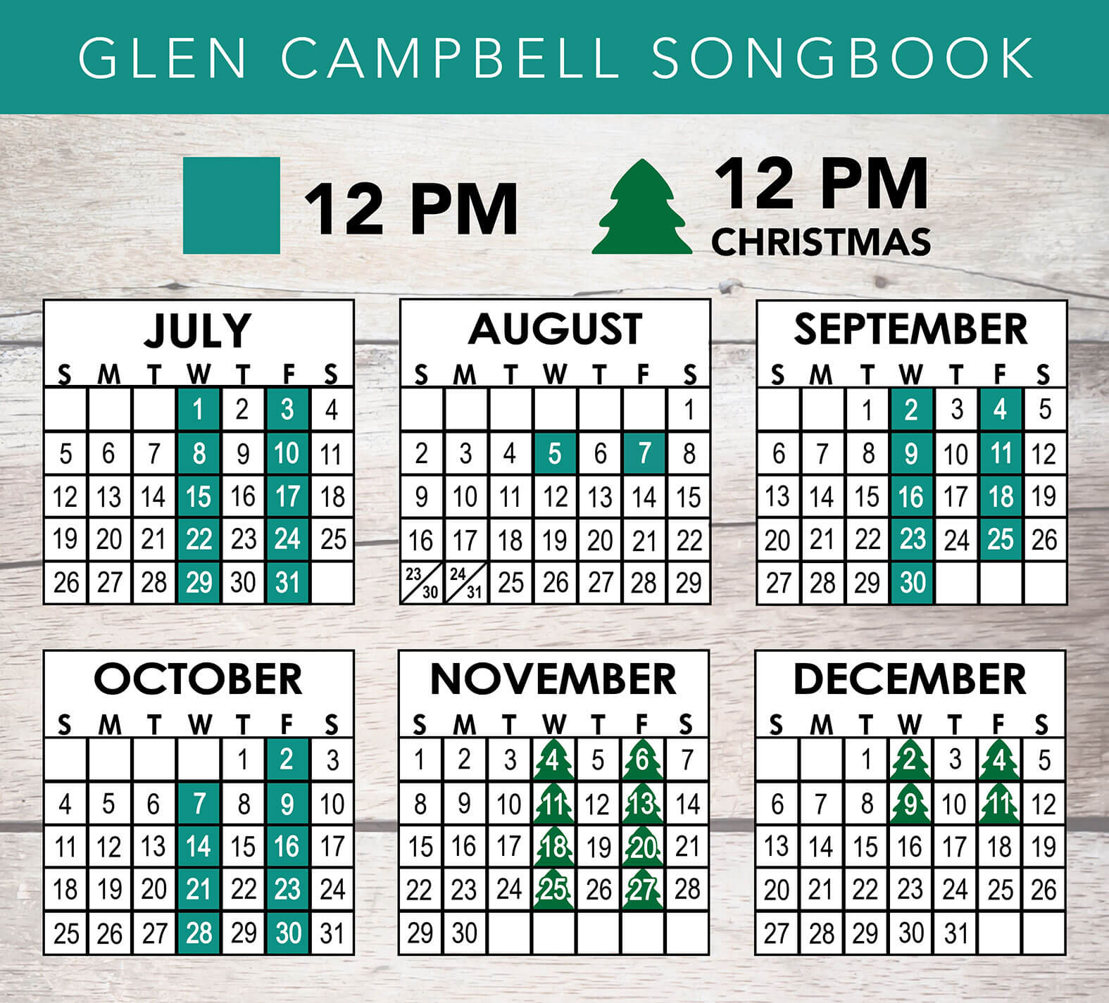 Glen Campbell Songbook 2020 Schedule