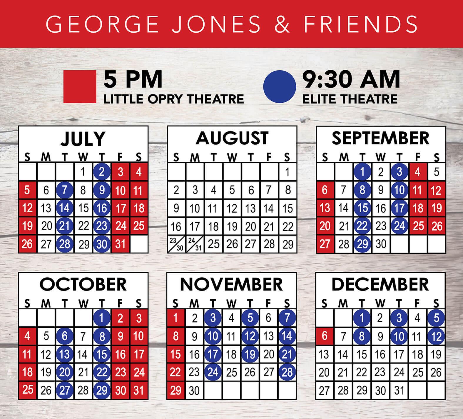 George Jones & Friends 2020 Calendar