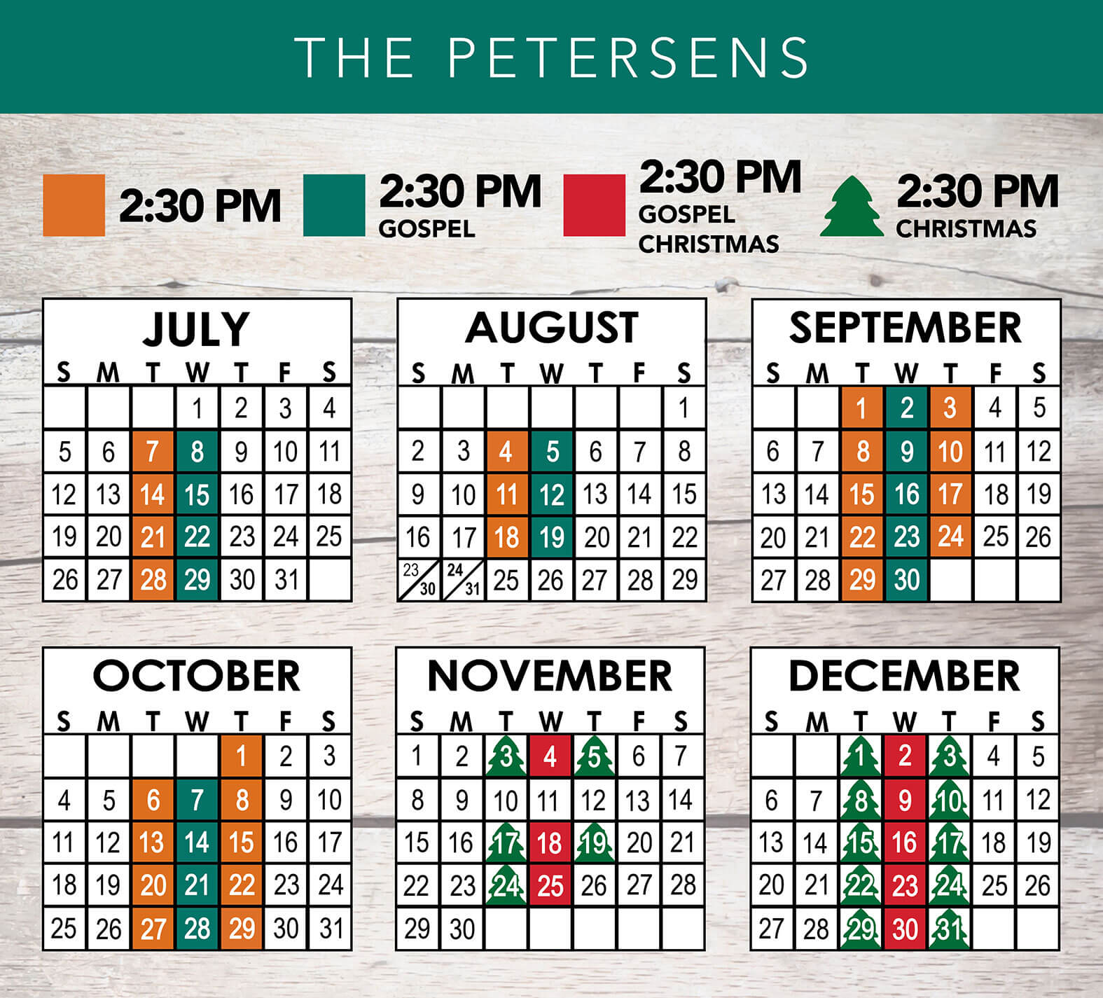 The Petersens 2020 Schedule