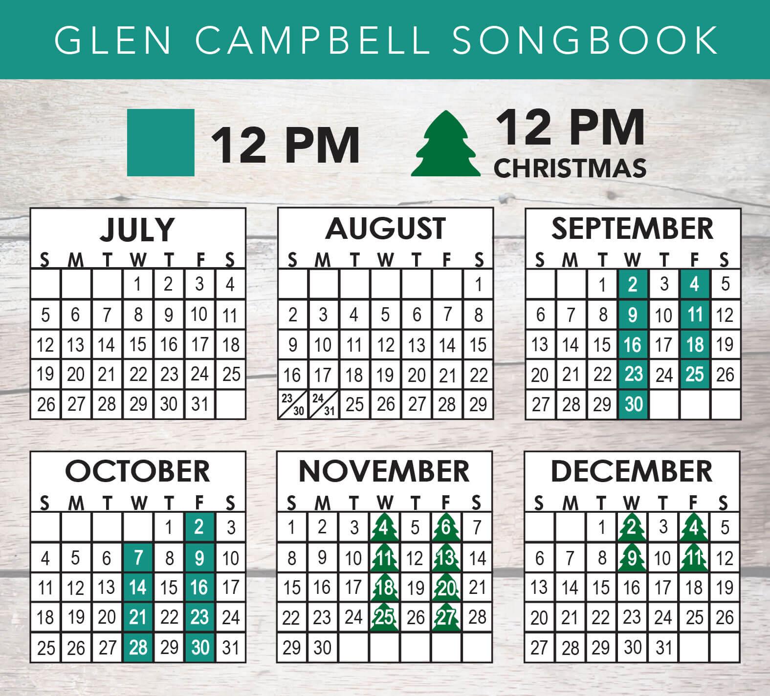 Glen Campbell Songbook 2020 Schedule