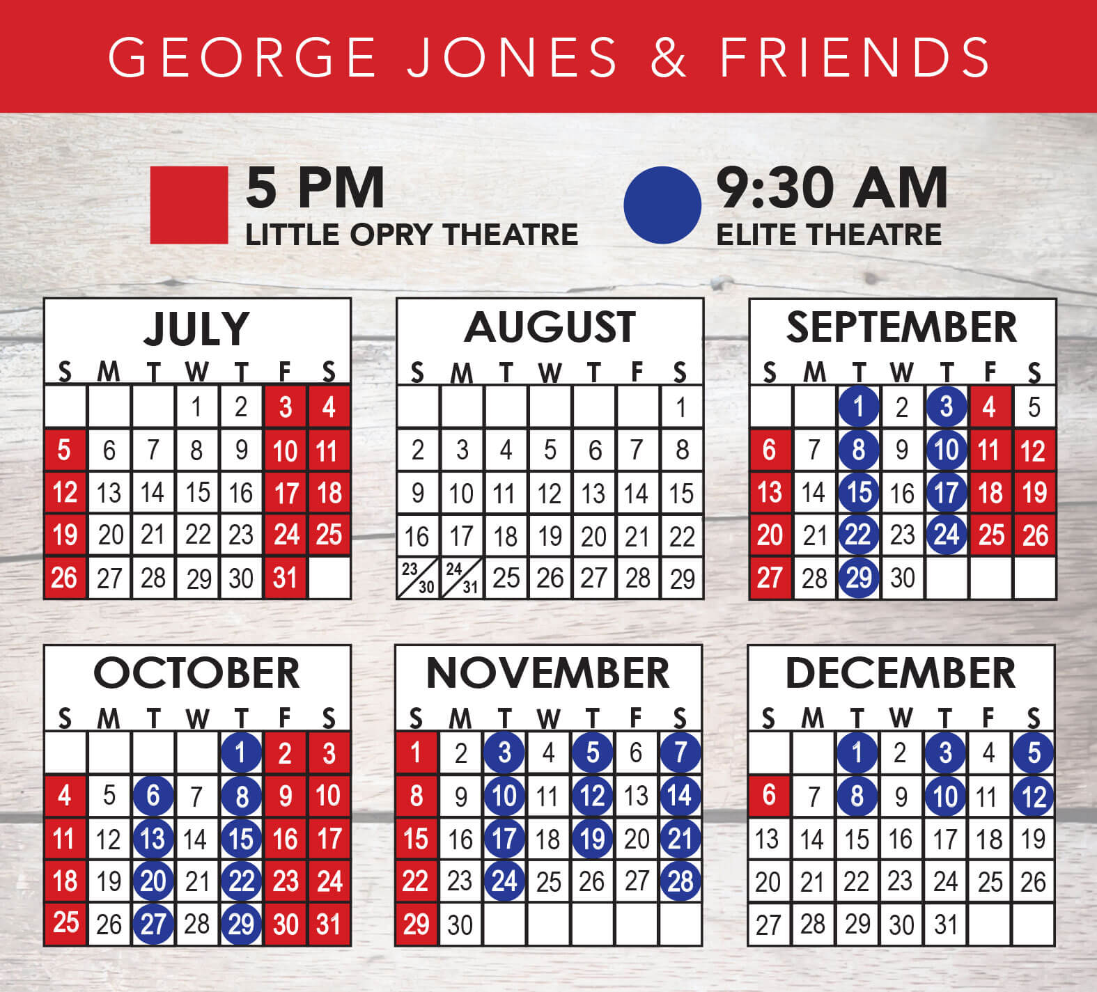 George Jones & Friends 2020 Calendar