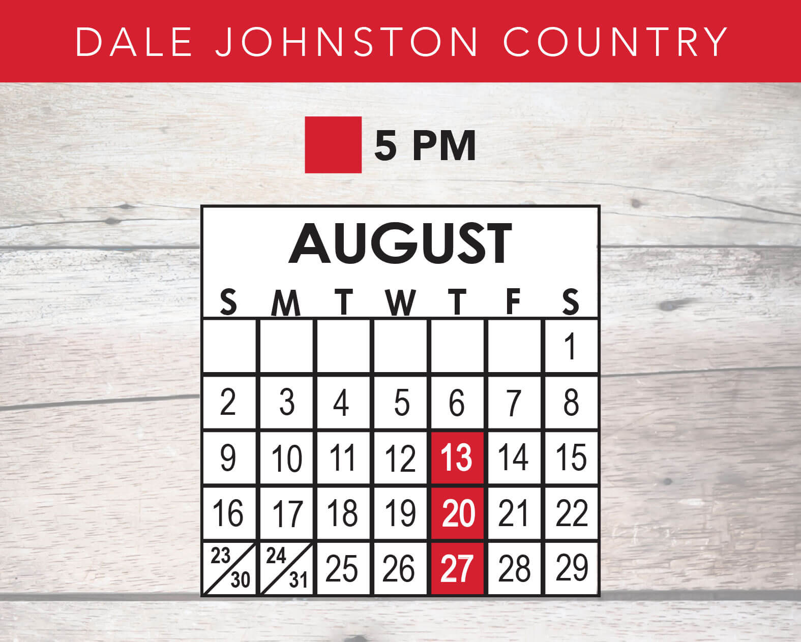 Dale Johnston Country Review 2020 Schedule