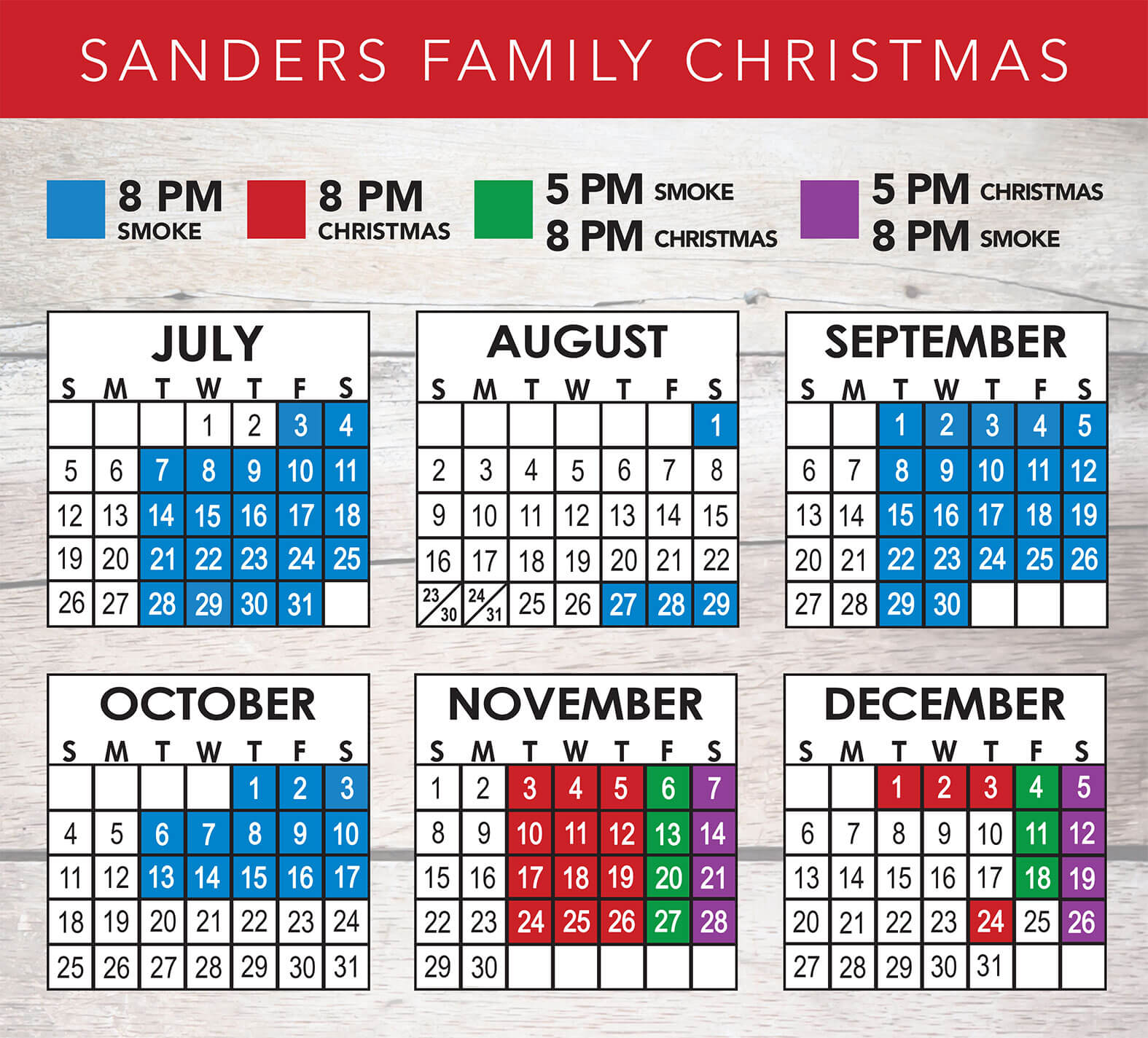 Sanders Family Christmas 2020 Schedule