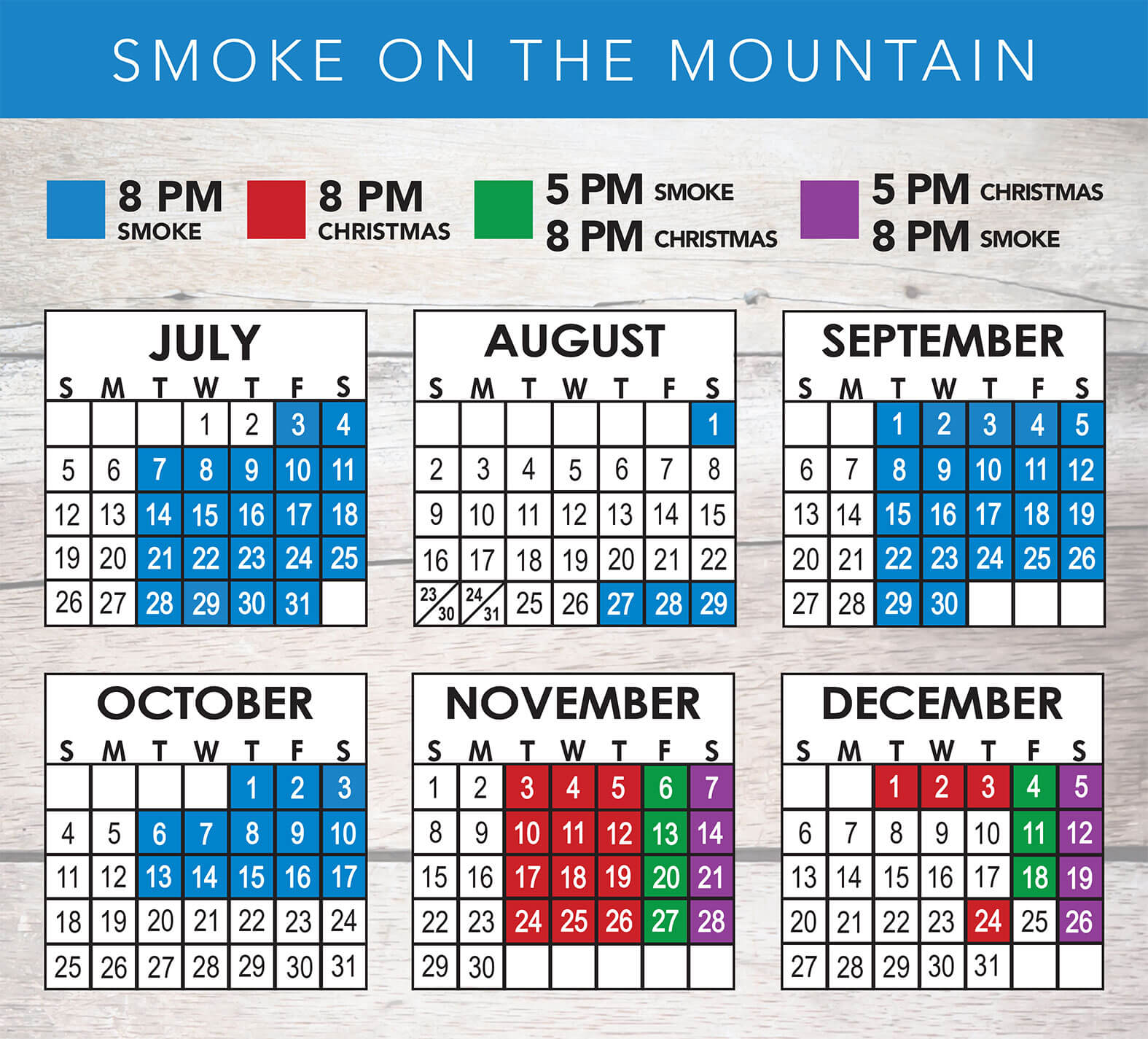 Smoke on the Mountain 2020 Schedule