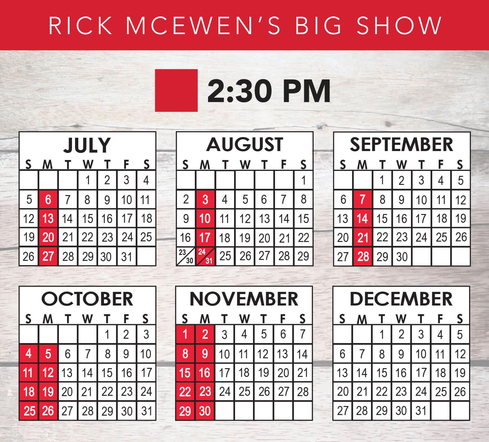 Rick McEwen's Big Show 2020 Schedule