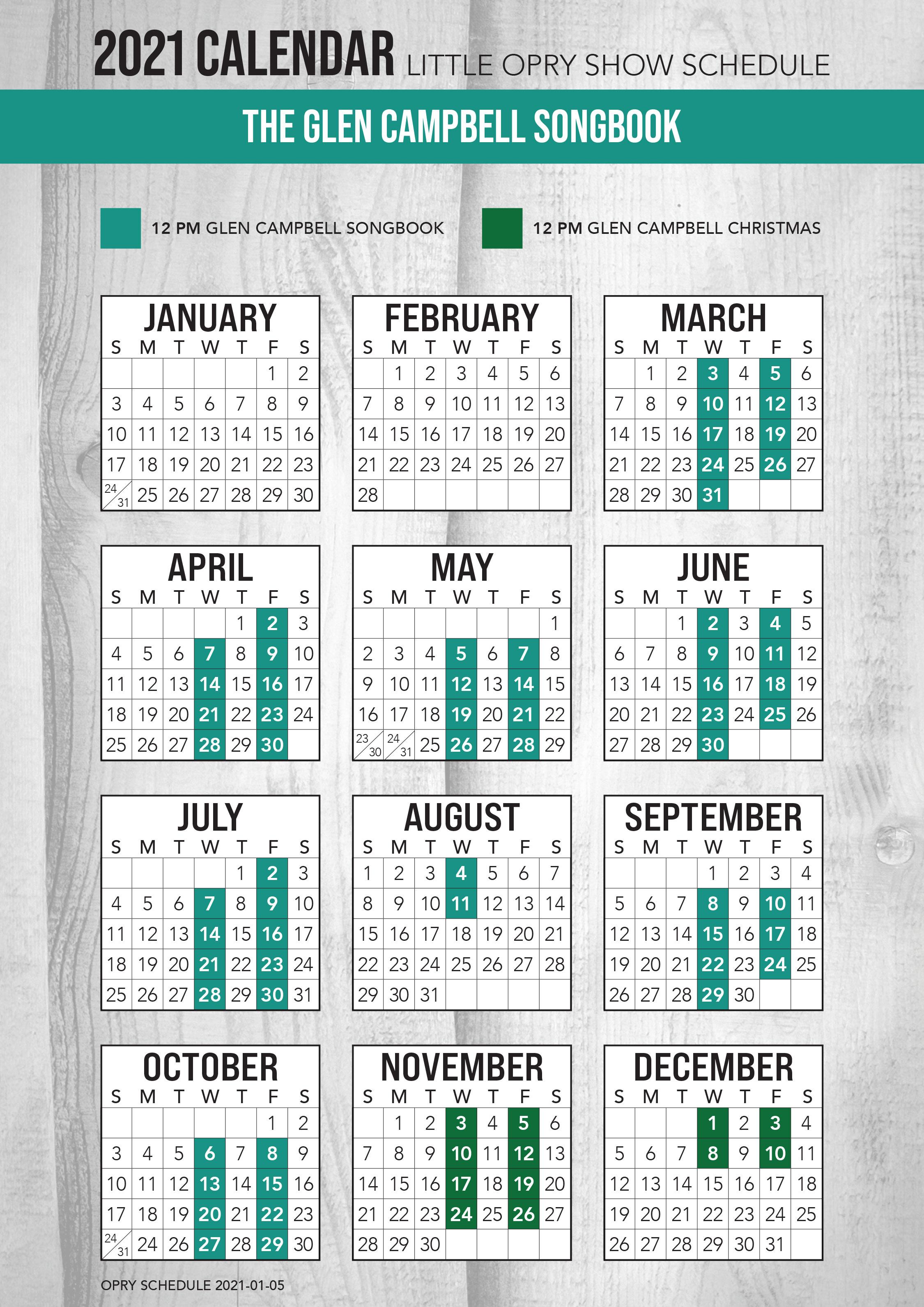 Glen Campbell Songbook 2021 Schedule