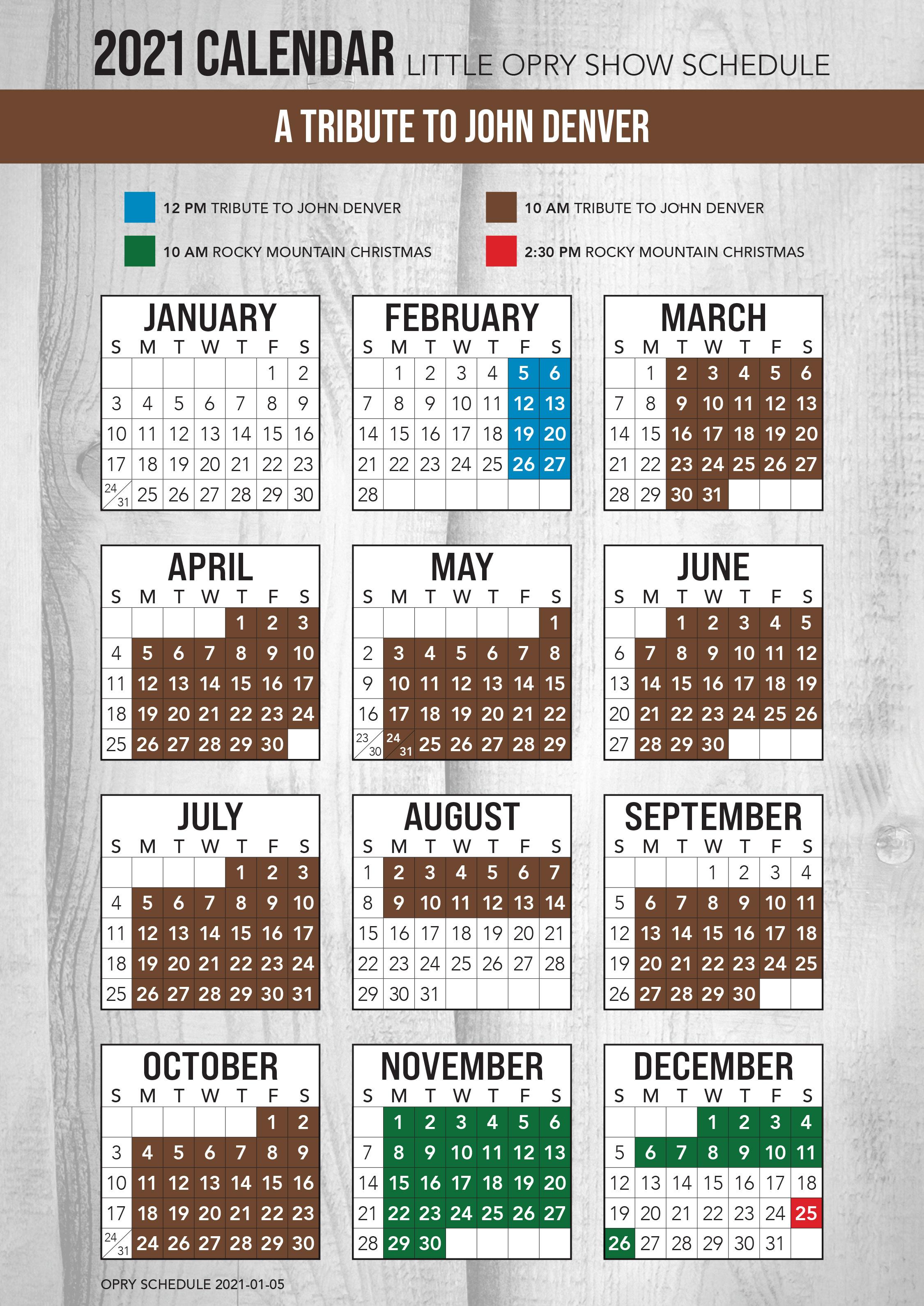A Tribute to John Denver 2021 Schedule