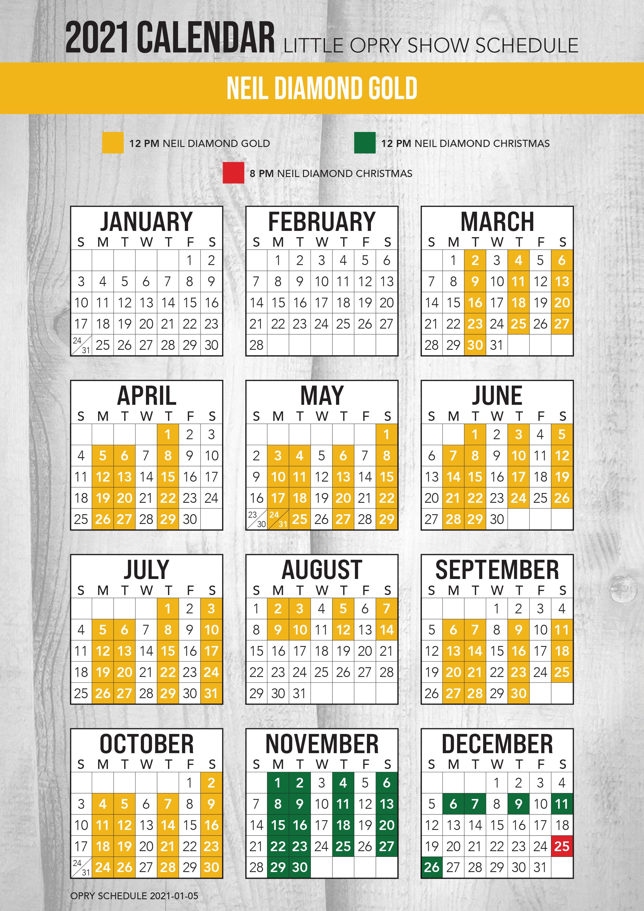 Neil Diamond Gold 2021 Schedule