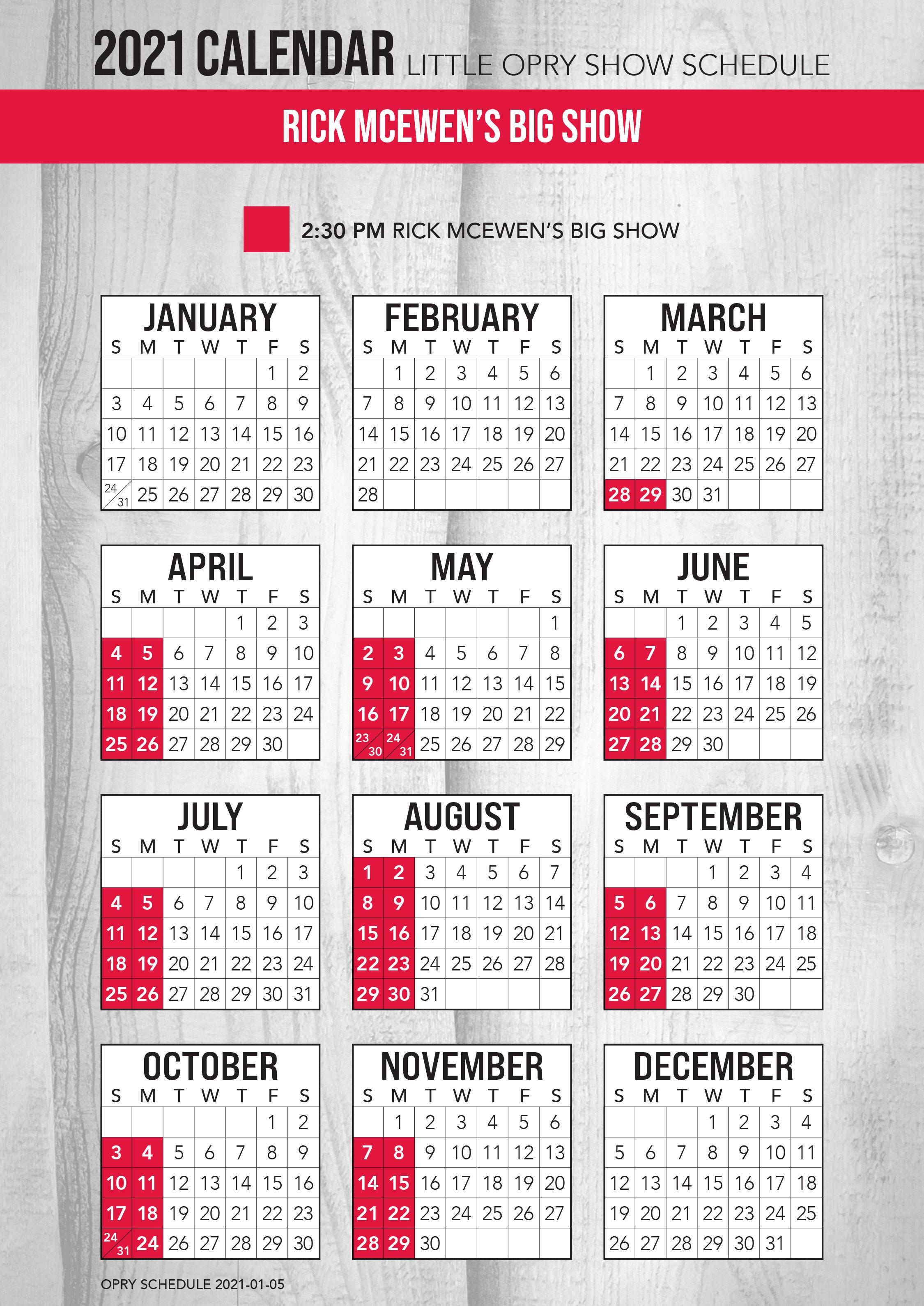 Rick McEwen's Big Show 2021 Schedule