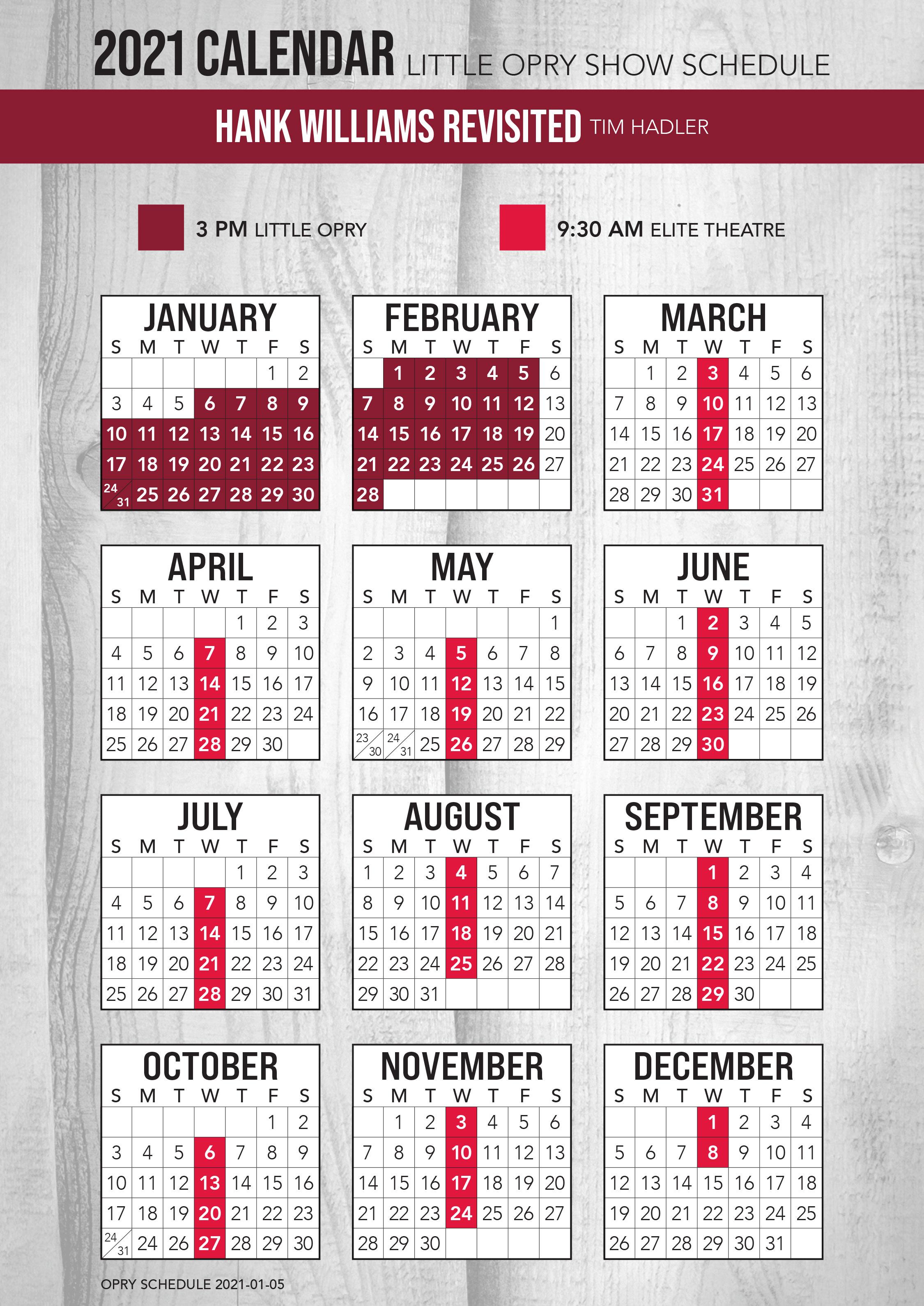 Hank Williams Revisited 2021 Schedule