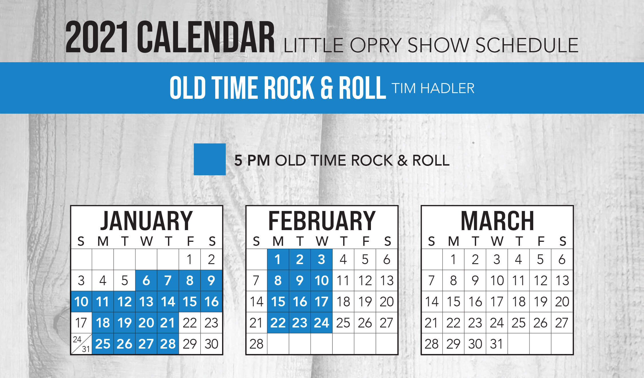 Old Time Rock & Roll 2021 Schedule