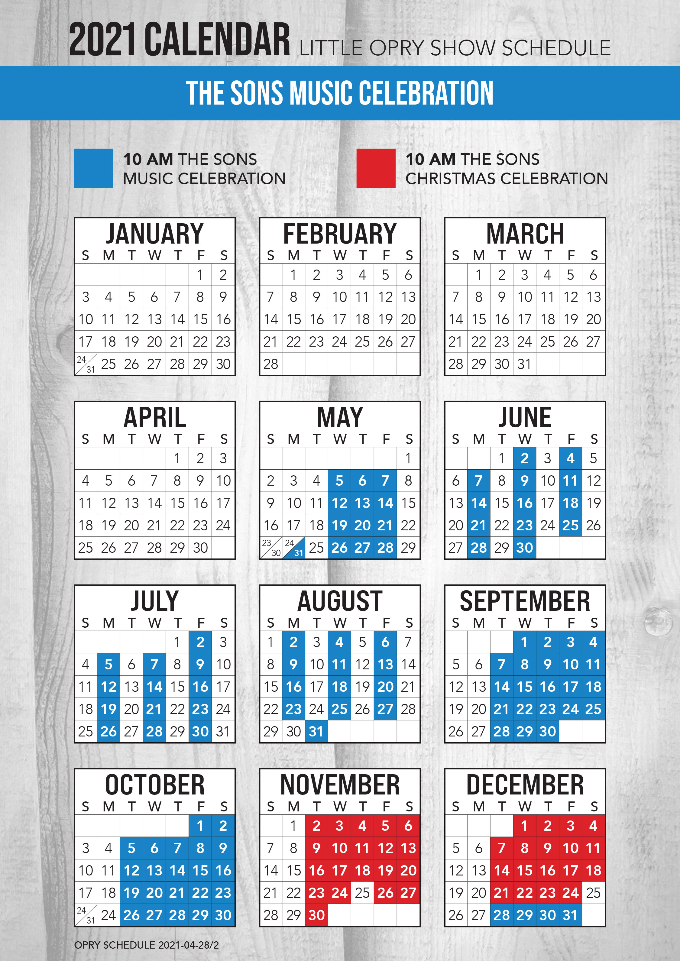 The Sons Music Celebration 2021 Schedule